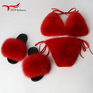Donne Pantofole di Pelliccia Bikini Reggiseno Set Furry Slides Estate Spiaggia Costume Da Bagno Biancheria Intima Infradito PVC Taglia 36-43