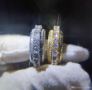 5 Row Iced Out 360 Rotatable Eternity Gold Silver Bling Ring Micro Pave Cubic Zirconia 18K Gold Plated Simulated Diamonds Spinner Rings