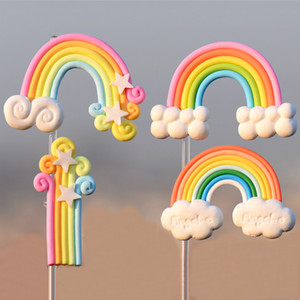 Сад Горшки Террариум украшение Радуга Мультфильм Мини Rainbows украшение Micro Пейзаж Crafts Пластикового Облако звезда Радуга BH3663 такой анкета