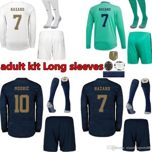 2019 2020 Real Madrid Manche Longue maison Maillots de football 19 20 DANGER kit adulte loin des chemises de football à manches longues SERGIO RAMOS uniformes de football