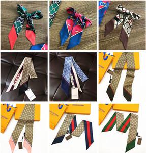 pañuelos de seda para las mujeres con mango estrecho lazo bolsa pequeña cinta decorativa cinta bufanda de imitación de seda pura bufanda impresa 120 * 8cm