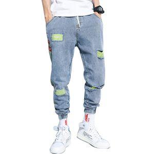 Dossan Jeans Man Mode en vrac Casual Harem Jeans Pantalons Boyfriends Streetwear Denim Homme plissé Pantalon dégoulinent