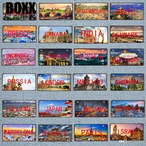 New 30X15cm City County Signs Plaque Metal Vintage Printed Travel Souvenir Wall Home Cafe Shop Restaurant Decoration Poster Metal painting