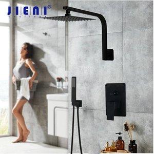 Jieni 8 16 Inch Swan Banho de chuveiro da precipitação Set Wall Mounted Matte Black Shower LED ultra-fino Cabeça de chuveiro de mão Set torneira T200616