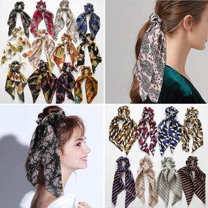 32 Stiller Yeni Çiçek Scrunchie Kadınlar Saç Eşarp Elastik Bohemian Hairband Bow Saç Kauçuk Halatlar Kızlar Saç Kravatlar Aksesuarları Baskı