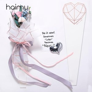 20pcs Diamond Heart-shaped Bag for Packaging Single Flower Bouquet Box Valentine's Day Flotist Decotration Bags