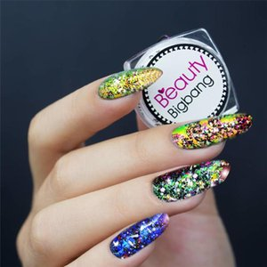 Hot BeautyBigBang 0,2g Chameleon prego Paillette Irregular Flakies pó Coral Cor Nail Art Glitter Sequins Manicure Detalhes