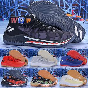 Новейшая Dame 4 X Shark Camo Зеленая мужская баскетбольная обувь WGM Спортивная обувь Damian Lillard 4s Подлинное качество Jiont Limited Кроссовки