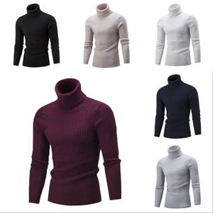 남성 패션 스웨터 소년 높은 칼라 단색 바닥을 셔츠 청소년 캐주얼 도매 가을 새로운 의류 2020 탑