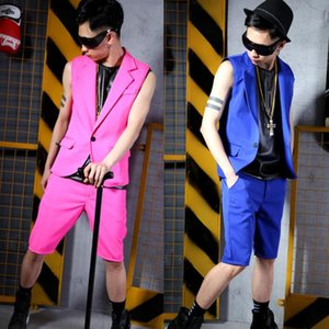 men vest set red blue clothing personality slim male sleeveless vests men punk rock singer dance stage star fashion