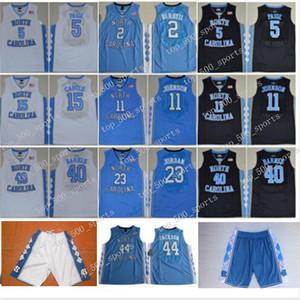 NCAA 노스 캐롤라이나 타르 힐 마이클 대학 5 나시르 리틀 카터 (32 개) 누가 복음 Maye 반스 빈스 UNC 블루 블랙 농구 유니폼 반바지