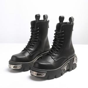 Punk-Art-Frauen Schwarz Goth Boots Nieten starke alleinige Martin Stiefel Damen Plateauschuhe mit 12 # 25 / 20D50