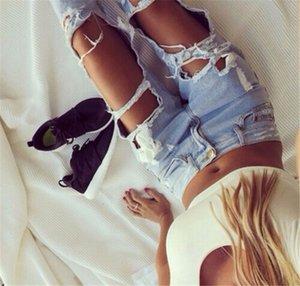 2018 Yeni Moda Jeans Kadın Açık Mavi Katı Yenilik Skinny Tam Boy Kalem Pantolon Hasarlı yırtık