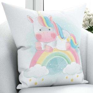 Else Colored Watercolor Unicorn Rainbow Horse 3D Print Microfiber Throw Pillow Case Cushion Covers Square Hidden Zipper 45x45cm