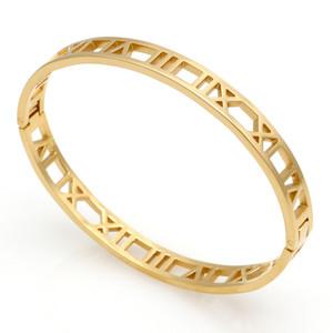 Moda Nuevo Acero Inoxidable Grillete Romano amor Pulsera joyas Cuff 18 K placa de oro Brazaletes Pulseras Para Las Mujeres joyería Pulsera de amor regalo