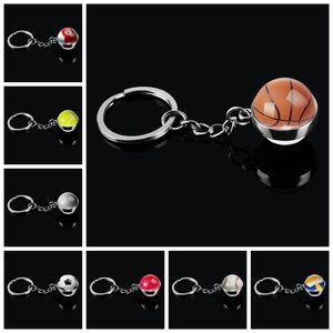 Mode boule en verre porte-clés Basket ball Volley-ball Football Tennis Rugby Softball qu'image en verre Pendentif Metal Keyring