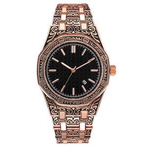 Atacado New Mens Mulheres de Luxo Assista Gravado Caso Royal Oak Relógios de Grife de Aço Inoxidável Movimento de Quartzo Auto-Calendário Relógio Do Esporte