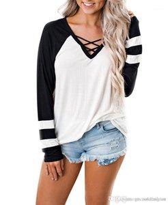 Getäfelt mit V-Ausschnitt Frauen-T-Shirts beiläufige Damen dünne Oberseiten mit Band Frühling reiner Farben-weiblicher T-Shirts Mode