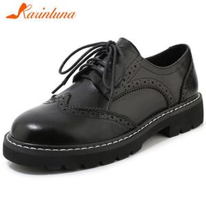KARIN Nueva Escuela señoras frescas zapatos de plataforma Moda Patente Negro PU de las mujeres bombea elegante Brogue zapatos de cordones Mujer