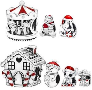 2019 100% 925 yüksek kaliteli Gümüş Kardan adam ve Noel Şapka Charm Boncuk Avrupa Pandora Takı Bilezikler Kolyeler Kolye uyar