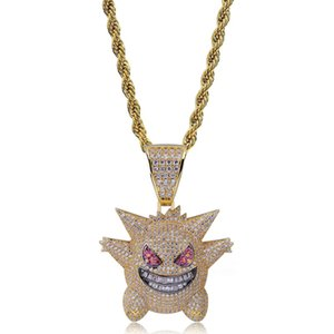 Full Rhinestone Gengar Pendant Necklace Designer Hip Hop Jewelry Bling Bling Ice Out Necklace With 24 Inch Chain For Men Gift
