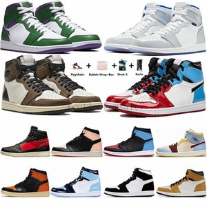 Jumpman 1s Zoom Racer Blu Travis Scotts 1 scarpe da basket UNC Mid Fearless Banned Turbo verde Mens Trainers Designer Sport Sneakers 36-47
