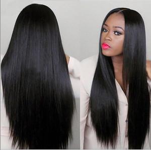 Natural Negro larga recta de calor llena del pelo humano pelucas resistente sin cola sintética del frente del cordón pelucas para mujeres Negro peruana de Malasia