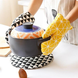 Oven Gloves Non-Slip Kitchen Oven Mitts Heat Resistant Oven Gloves for Cooking Baking BBQ Grilling Accessories