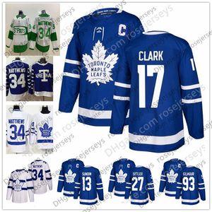 Maple Leafs de Toronto # 93 Doug Gilmour 17 Wendel Clark 13 Mats Sundin 27 Darryl Sittler Bleu Blanc Classique Joueur Retraité Maillot St. Pats