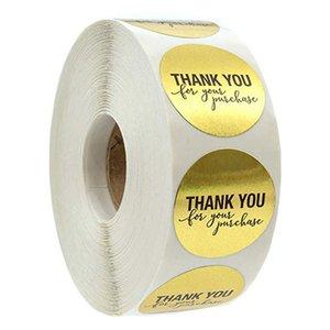 500pcs / рулон 1 дюйм золотых круглый благодарственного клейких этикеток наклейки конверт печать наклейка запеченных papckage DIY клей наклейка