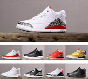 Niños Kids air jordan 3 III infant zapatilla de deporte de cemento negro Tinker universitario Zapatos de baloncesto agradecido niños muchachas del muchacho de zapatos