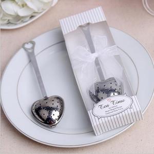 Paslanmaz Çelik Kalp Şekli Çay Demlik Çay Topu Yenilik Çay Parti Malzemeleri Misafirler için Düğün Hediyeleri Düğün Iyilik 20 adet / grup