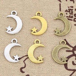 99cents al por mayor 12pcs encantos estrella de la luna 17 * 11mm hueco Making antiguo colgante en forma, de plata tibetano de la vendimia, collar, pulsera,