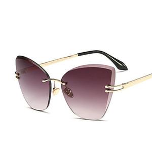 Wholesale- Sonnenbrillen für Frauen Katzenauge-Objektiv Randlos Diamond Cut Kein Rahmen Mode-Marken-Entwerfer Sun-Glas-Farbton uv400