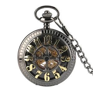 빈티지 청동 여성 남자 기계식 Poket 시계 간단한 펜던트 해골 남성 목걸이 자동 시계 선물을위한 자동 시계