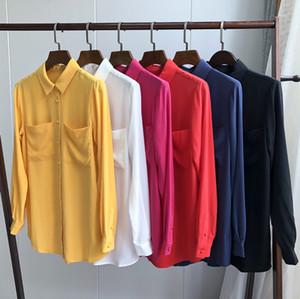 100% Silk Brand fashion women's high-end luxury vintage pocket elegant silk long-sleeved shirt blouse