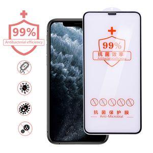 Protezione dello schermo di iPhone per 11 Pro Max X XR XS vetro temperato per iPhone 8 7 6 Protezioni di schermo pellicola anti batterico Antisepsi Arc-Bordo tagliato