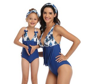 Women Baby parent-child short Sleeve Bottoming Shirt Swimwear Bikini Swimsuit Bandage Bathing Suits One piece Swimsuits 028