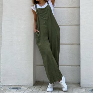 LASPERAL Women Suspender Rompers Overalls Vintage Cotton Jumpsuits Playsuits Long Pockets Wide Leg Pants Combinaison Oversize