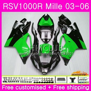 Body For Aprilia RSV1000R Mille RSV1000 R RR 03 04 05 06 Bodywork 38HM.49 RSV1000RR RSV 1000 2003 2004 2005 2006 03 06 Green black Fairing