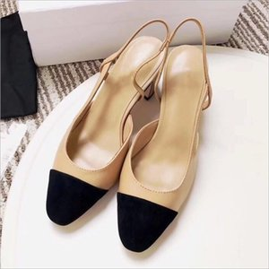 Nu + preto patchwork cor dividida sexy novo e confortável meio calcanhar flat nude calcanhar mulheres fine heel senhora sapatos de casamento