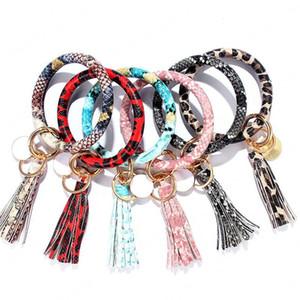 Famille PU Porte-clés en cuir Adulte Enfant Cercle Tassel Bracelet Serpent Bracelet Porte-clés Porte-clés Leopard poignet 21colors