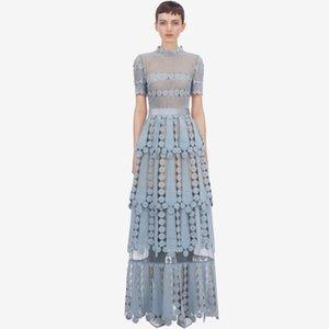 Yüksek Kaliteli 2020 Yaz Mavi Dantel Maxi Elbise Kadınlar Kısa Kollu Tığ Hollow Out Çiçek Ruffles Layer Cake Uzun Elbise