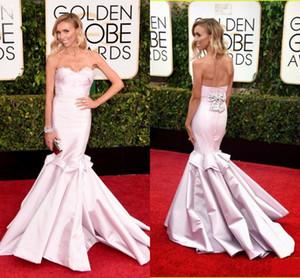 Robe De Soiree 2020 Rose bretelles sirène élégante RUFFLES Celebrity robes sans manches avec nœud Giuliana Rancic Robe imiter