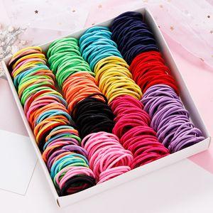 2020 New 100PCS Set Girls Candy Colors Nylon Elastic Hair Bands Children Rubber Band Headband Scrunchie Fashion Hair Accessories