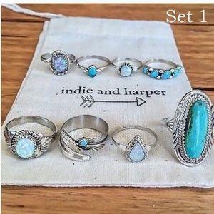 2020 Art und Weise elegante Cluster-Ring Multi-teiliges Set Türkis Personalisierte Open Damen Super Schöner Ring