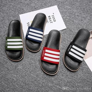 newest designer sandals mens causal rubber summer huaraches stripe slippers loafers flats leather luxury slides designer Slippers flip-flops