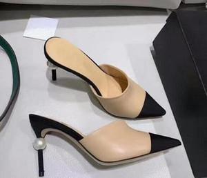 Frauen Ziegenleder Grosgrain Pumps Echtes Leder Perle High Heels OL Kleid Schuhe Dame Beige Weiß Schwarz Einzelne Schuhe Original Box