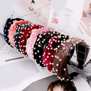 Mujeres de la manera perla cintas para el pelo de terciopelo anudada cosecha del grano Hairband de moda accesorios para damas lindo del pelo del envío