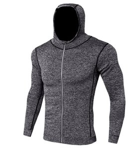 2019 gym hot Quick-drying jacket, men's tight, breathable and warm-keeping fitness jacket, long-sleeved bathroom reflecting light